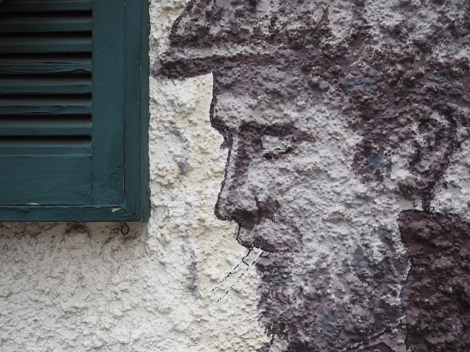 Mural, Windows, Man, Wall, Profile