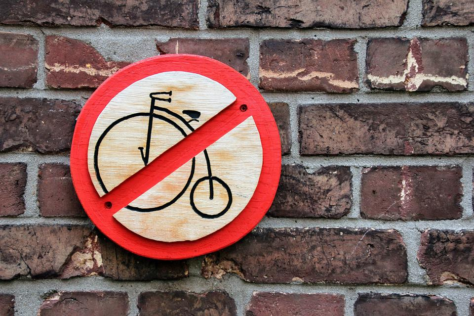 Prohibited, Ban, Bike, Prohibitory, Shield, Wall, Note