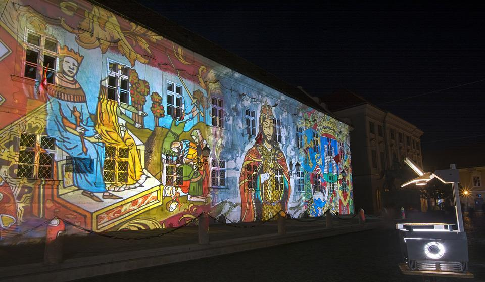 Light Painting, Székesfehérvár, Projection, Blind Béla