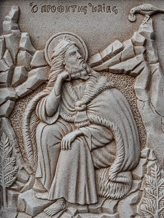 Engraving, Prophet Elias, Wall, Church, Stone, Religion