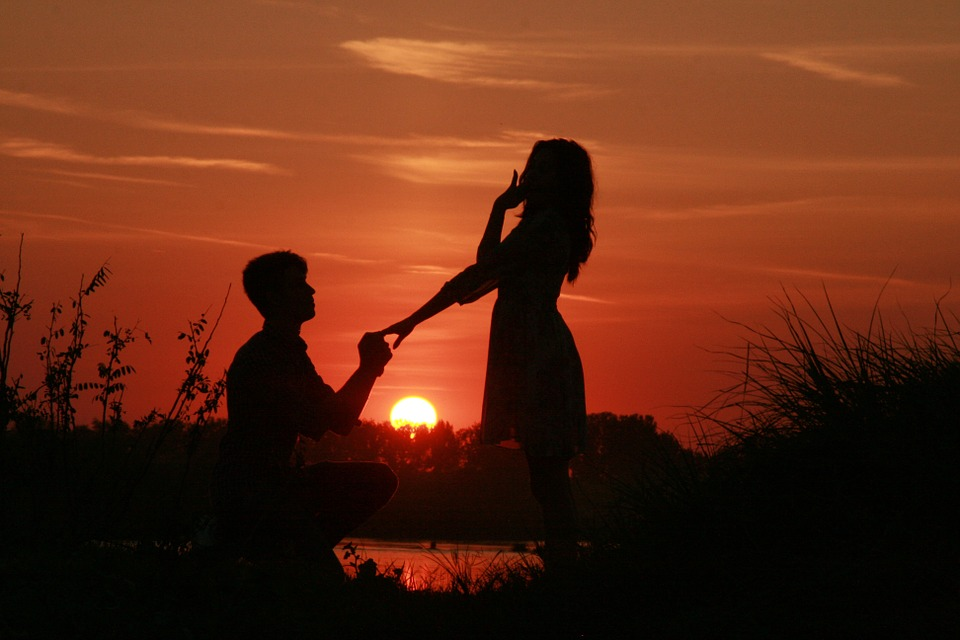 Couple, Love, Sunset, Proposal Marriage, Water, Sun
