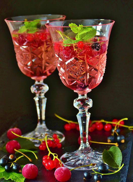 Cocktail, Prosecco, Berries, Drink, Mineral Water, Mint