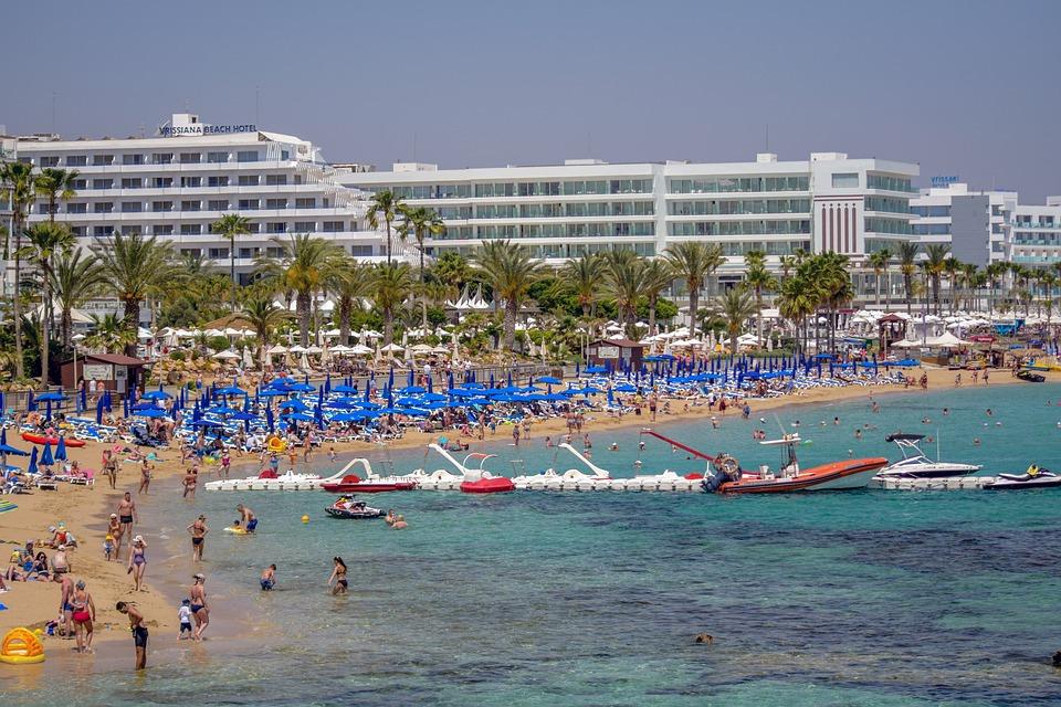 Cyprus, Protaras, Sea, Beach, Seashore, Hotels