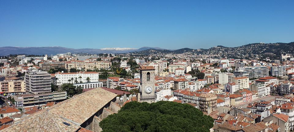 Cannes, Provence, Overview, France, Houses, Mountains