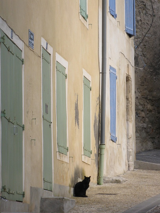 Provence, Village, Cat, Homes, Shutters, Old