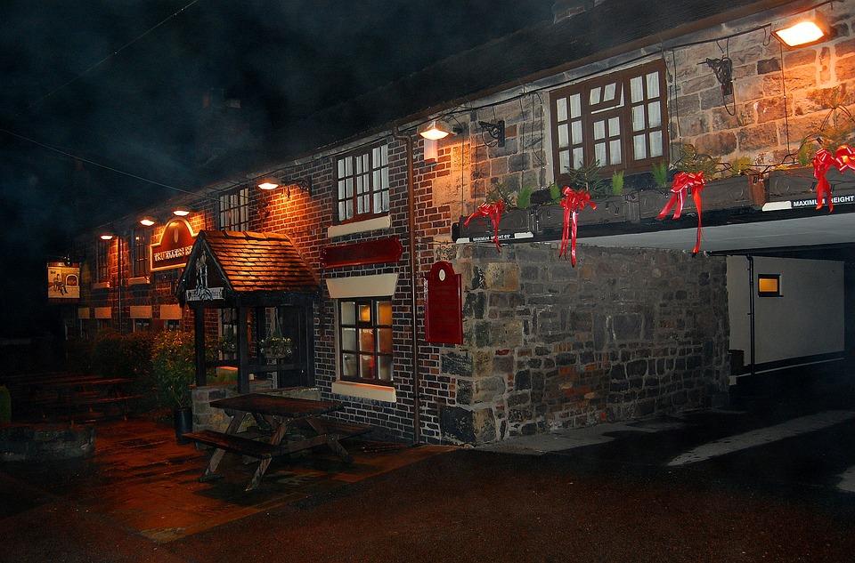 Pub, Bar, Night, Public House, Winter, Fog, Mist