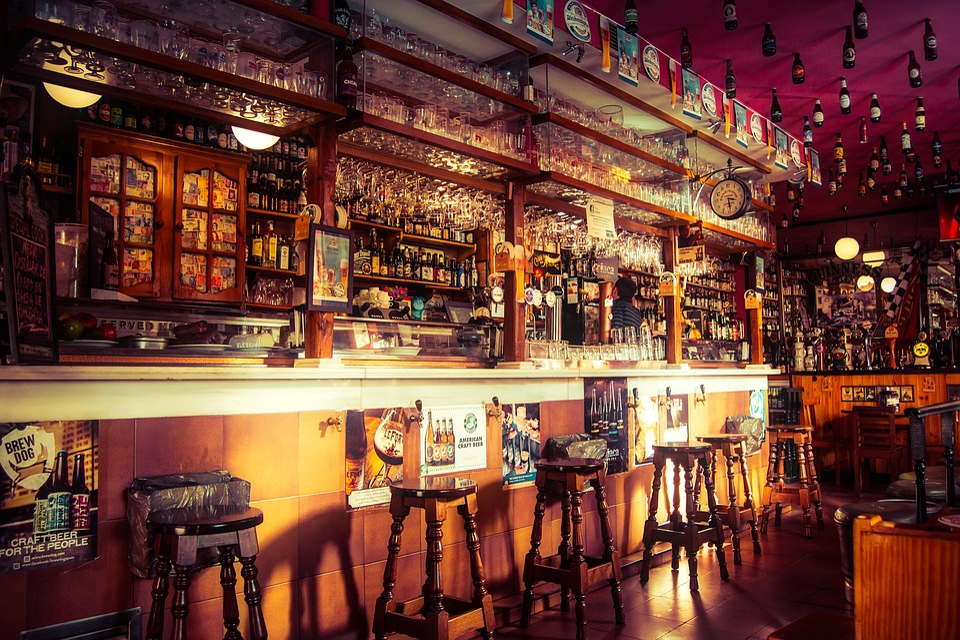 Free Photo Pub Stools Counter Bar Cafe Establishment