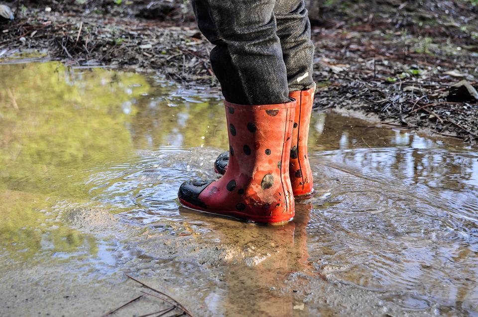 Rain Boots, Boots, Shoes, Rain, Puddle, Water, Child