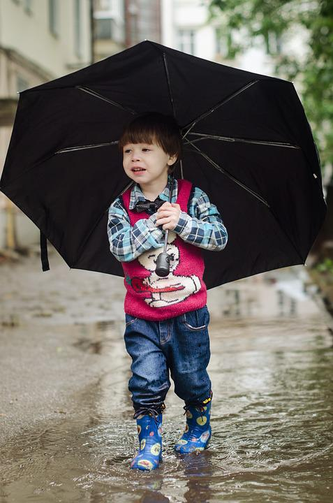 Umbrella, Puddle, Kid, Baby, Kids, Boy, Felix, Rain