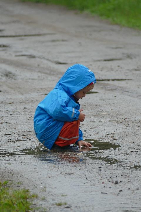 Children Playing, Rain, Puddle