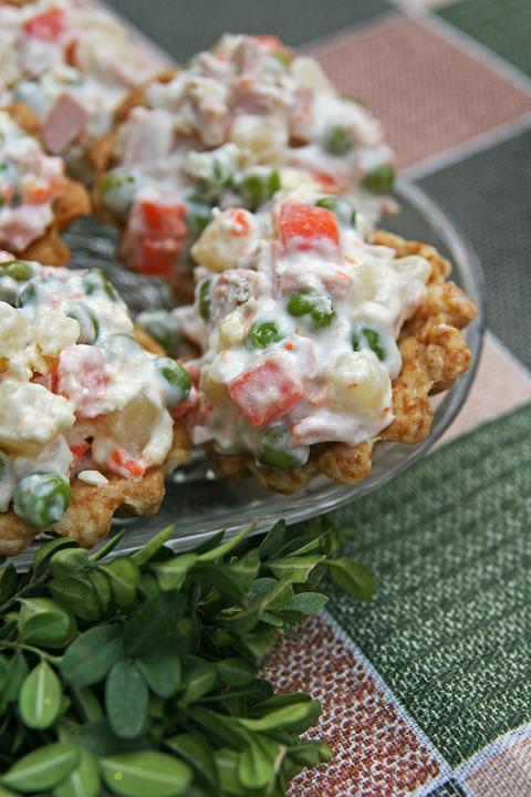 Russian Salad, Puff Pastry Cups, Macro, Food, Green