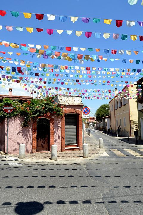 Pula Sardinia, Flags, Street, Town