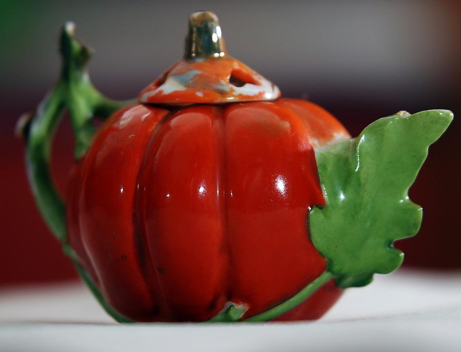 Tea-pot, Pumpkin, Orange, Tea, Collectible, China