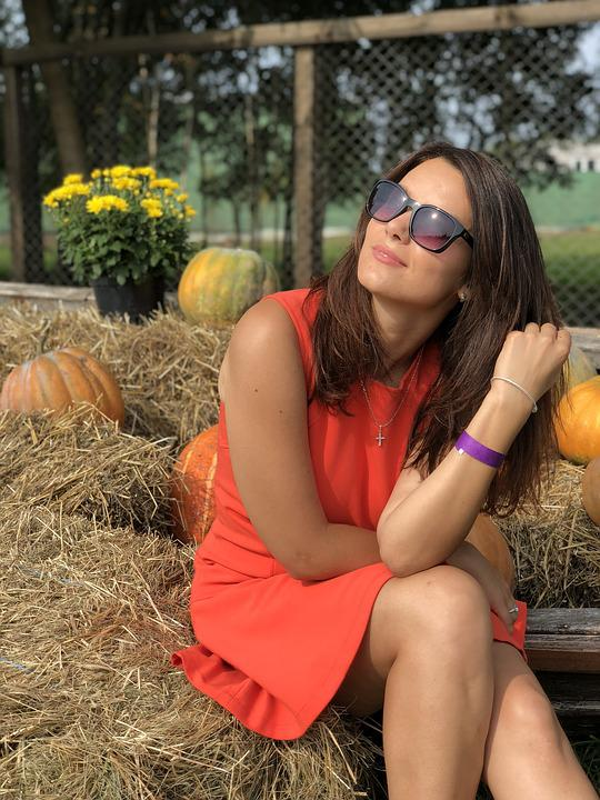 Girl, Dress, Pumpkin, Straw, Bright Dress, Hay, Youth