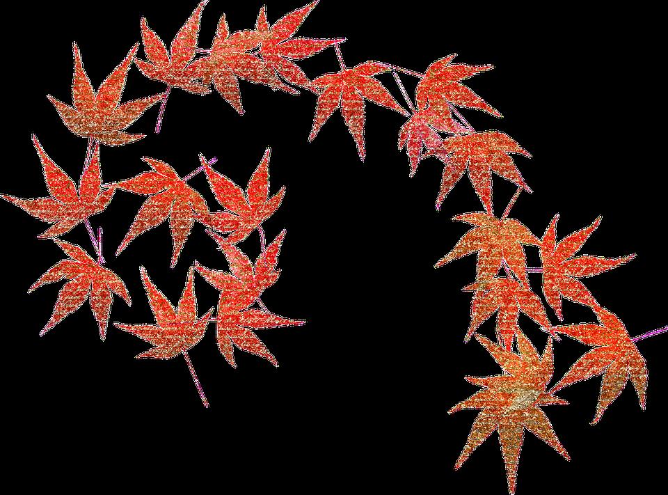 Autumn Leaves, Fall, Pumpkins, Glitter, Colorful