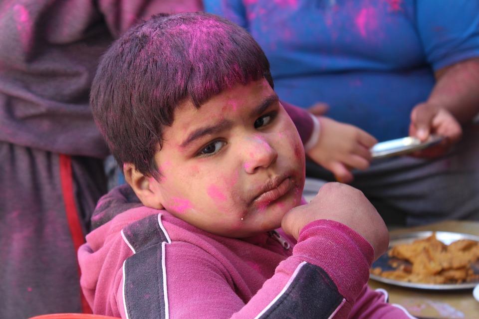 Holi, Children, Festival, Patiala, India, Punjab, Smile