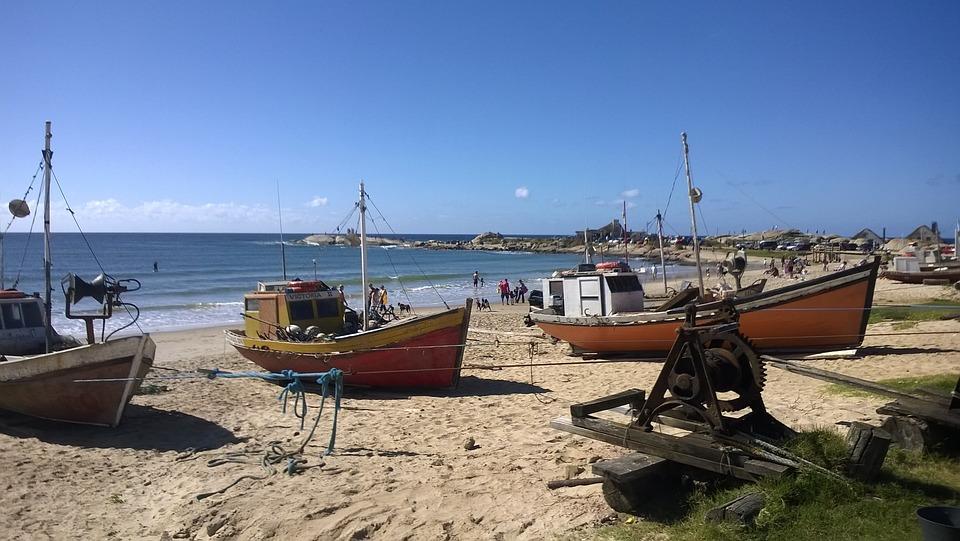 Boats, Beach, Uruguay, Punta Del Diablo
