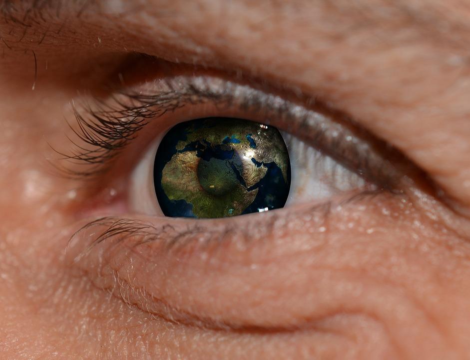 Eye, Man, Pupil, Lid, Eyebrow, World, Earth, Globe