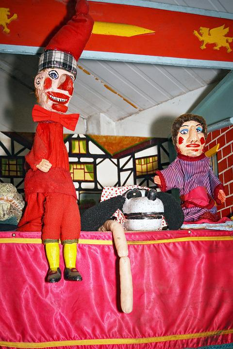 Vintage, Punch, Judy, Puppets, Attraction, Childhood