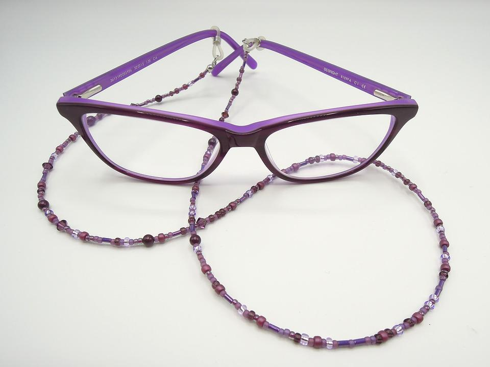 Specs, Glasses Chain, Purple, Beads, Jewelry