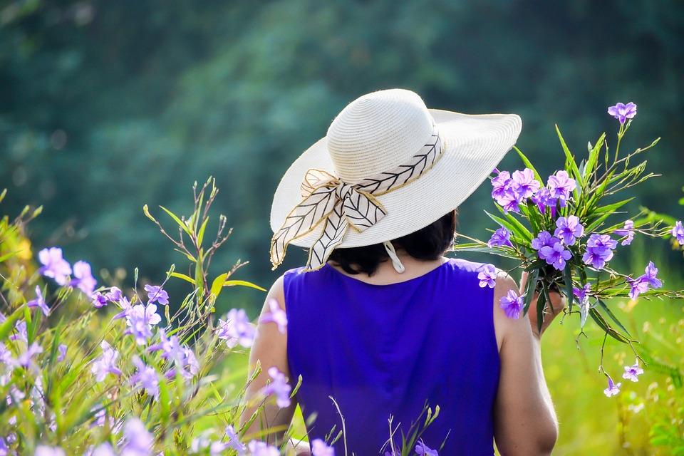 Purple Dress, Purple Flowers, Girl, Woman, Lady, Female