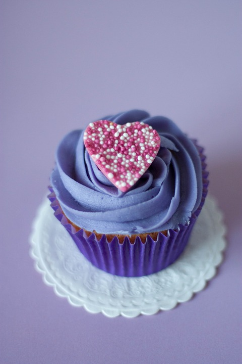 Cupcakes, Heart, Dessert, Sweets, Treats, Food, Purple