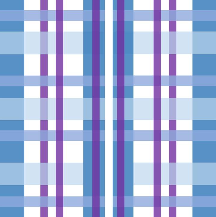 Blue, Purple, White, Stripes, Gingham, Pattern, Design