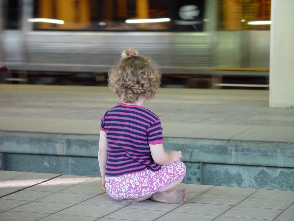 Child, Sit, Metro, S Bahn, Railway Station, Purple