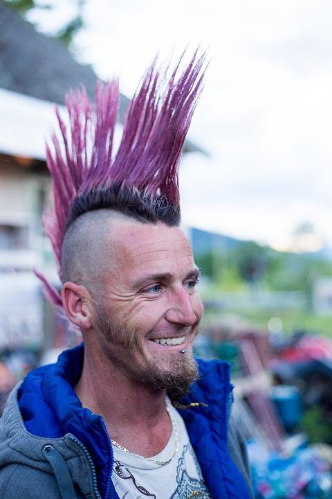Iroquois, Punk, Mohawk, Purple, Hair Style, Pink