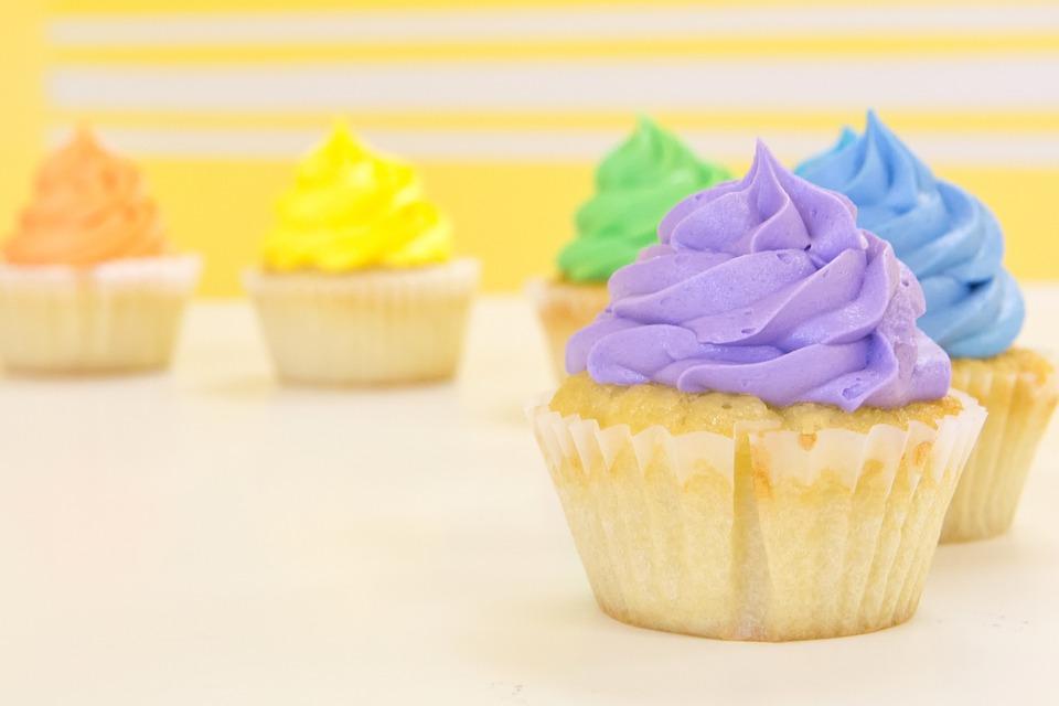 Cupcakes, Rainbow, Purple, Blue, Green, Yellow