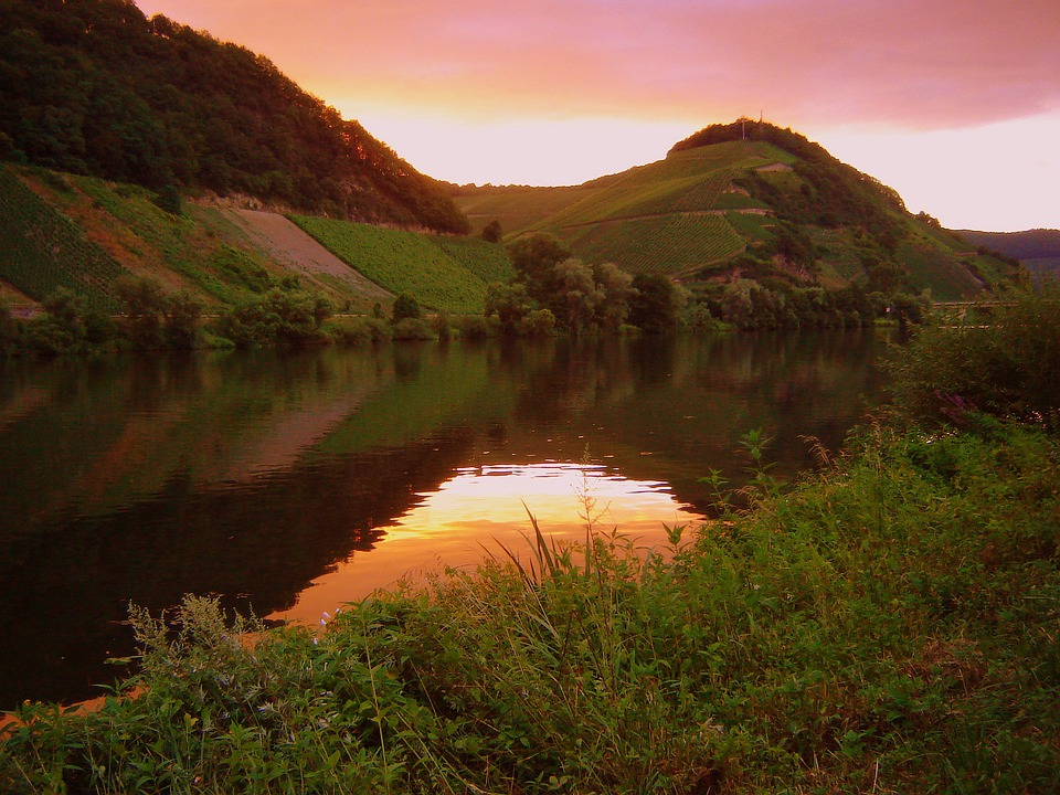 Mountains, Moselle, Water, Sun, Sunset, Pink, Purple