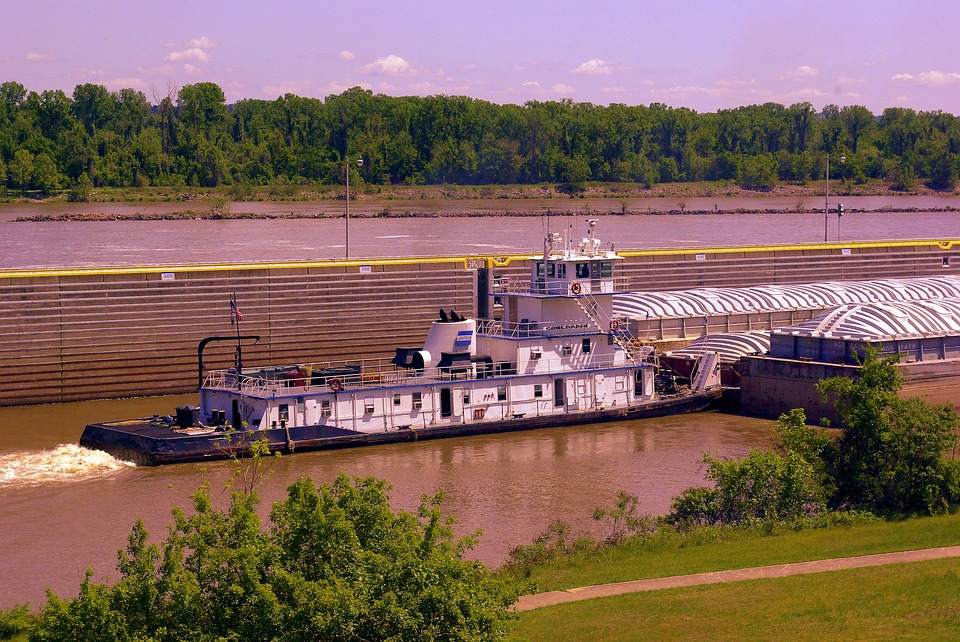 Pushing Downstream, Tugboat, Arkansas, River, Afternoon