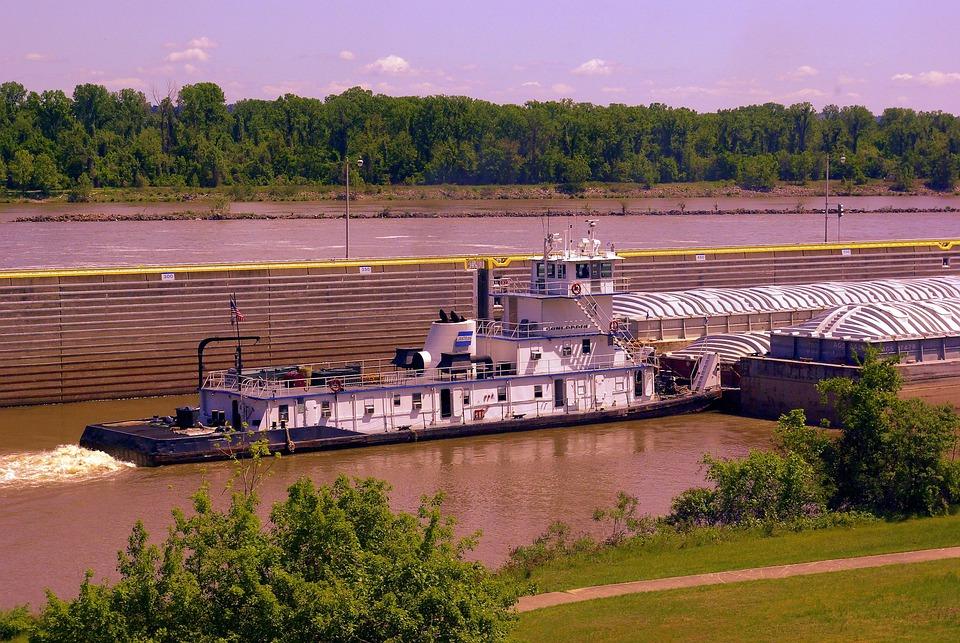 Pushing Downstream, Tugboat, Arkansas, River, Afternoon