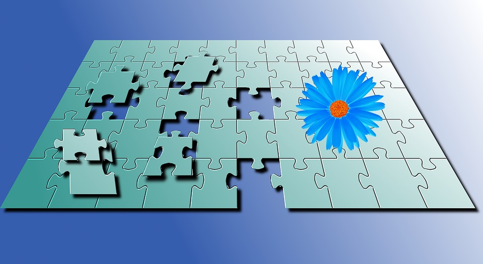 Puzzle, Blue Flower, Puzzles, Color, Blue, Wallpaper