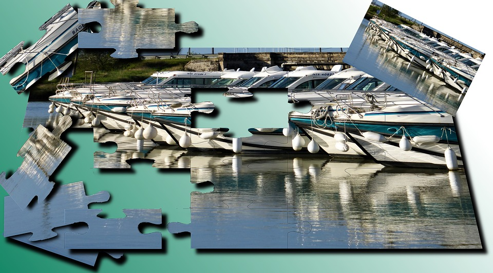 Puzzle, Channel, Boats, Body Of Water, No Person
