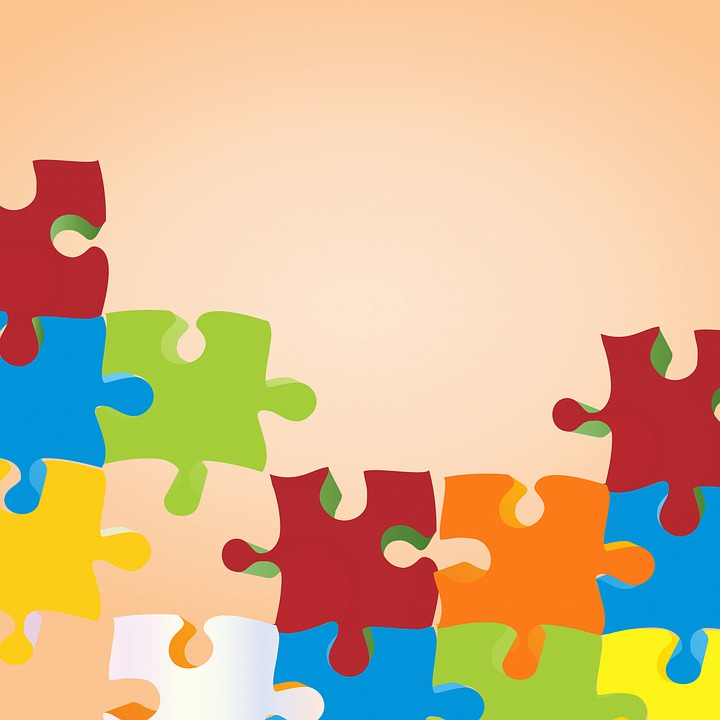 Puzzle Digital Paper, Retro Background, Geometric