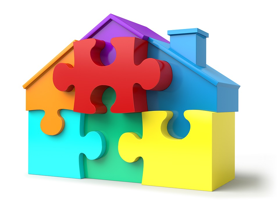 Puzzle Pieces House Shape Real Estate Jigsaw