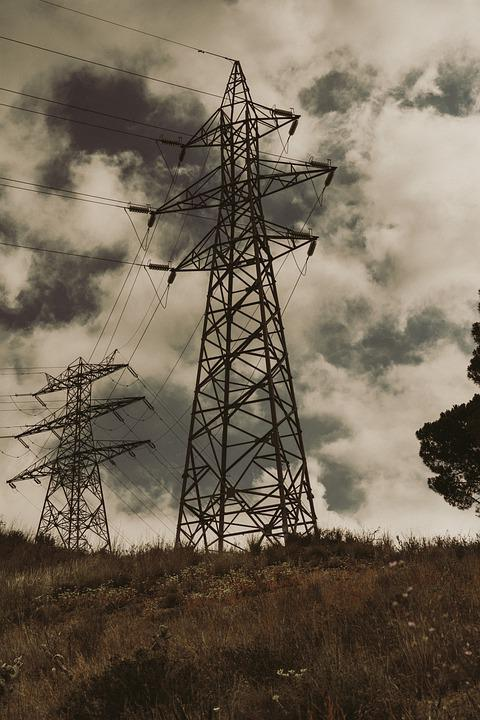 Pylon, Transmission Tower, Field, Power Tower, Cables
