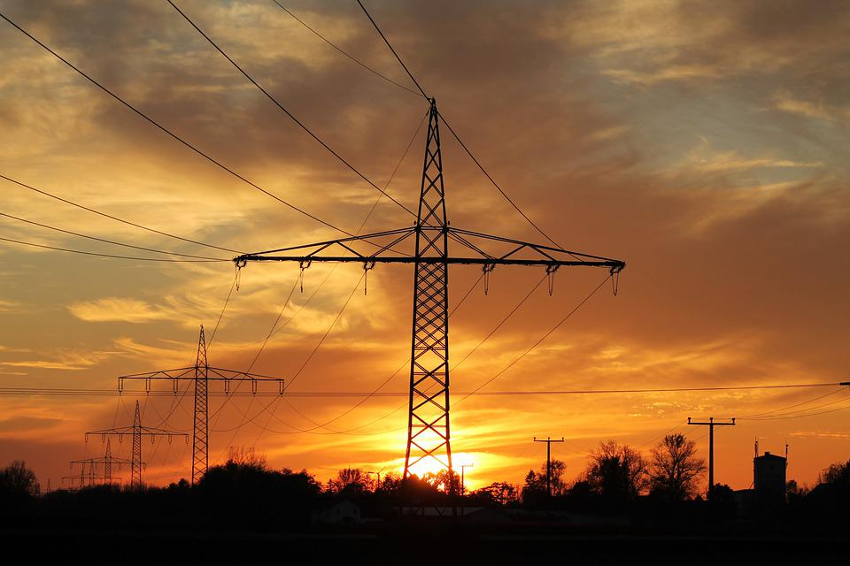 Pylons, Sunset, Silhouette, Dusk, Transmission Towers