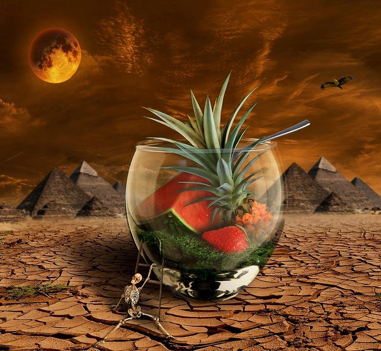 Melon, Pineapple, Fruit, Moon, Desert, Dry, Pyramid