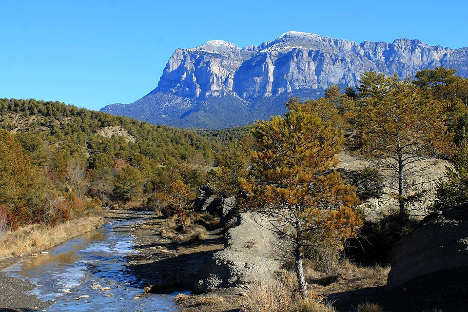 Rock, Pyrenees, Landscape, Autumn, Sunny, Pine, River