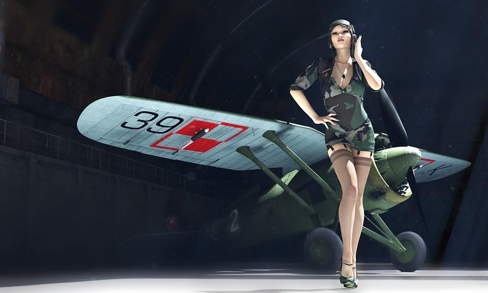 Pzl P11, Pin-up, 3d Model, Pilot, A Woman Pilot