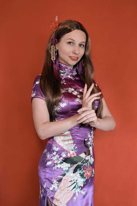 Woman, Qipao, Dress, Costume, Flower, Chinese Style