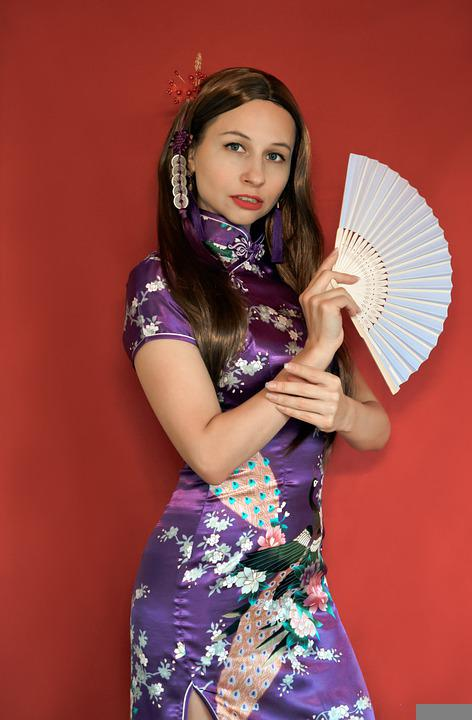 Chinese Style, Qipao, Fan, Red Background, Purple