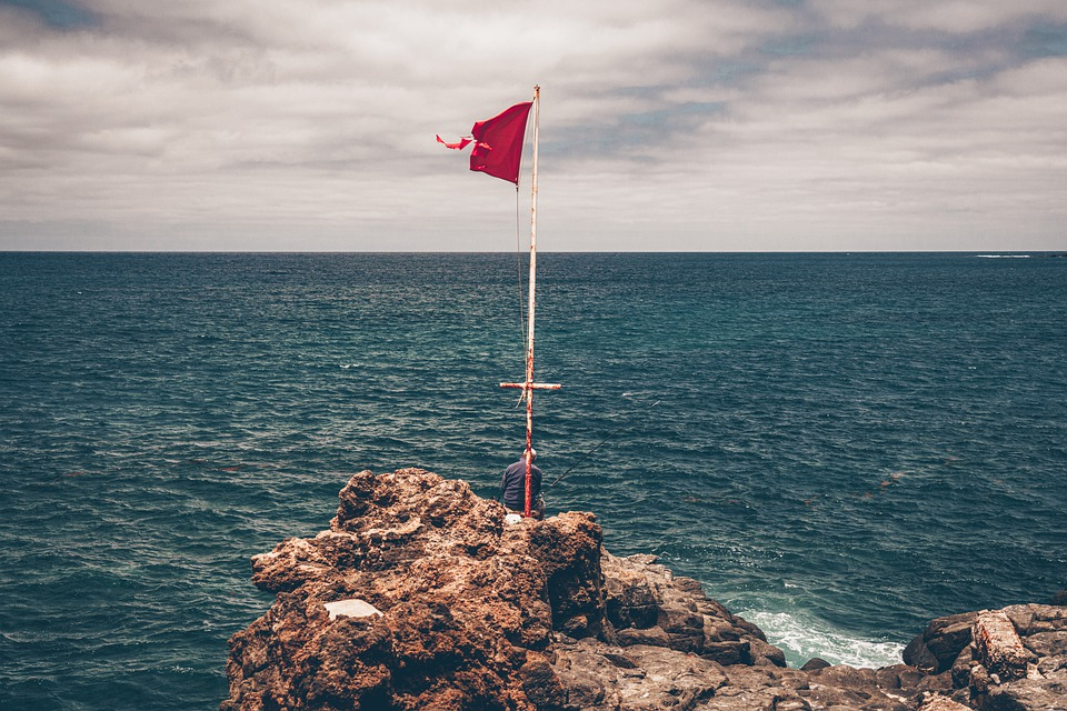 Flag, Rocks, Cliff, Quarries, The Confital, Beach, Sea