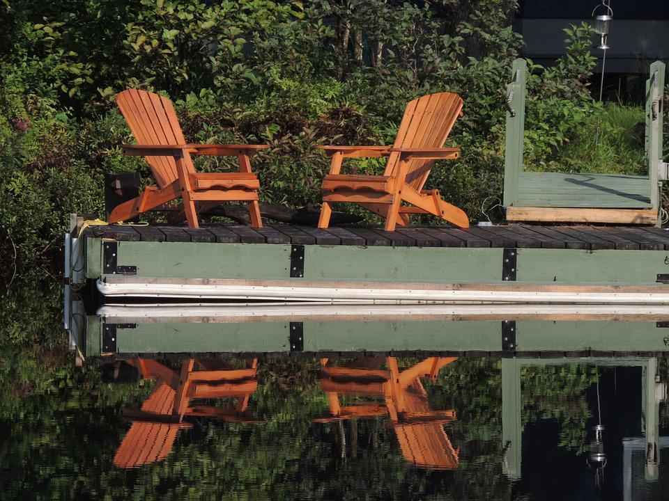 Chairs, Lake, Reflection, Quebec