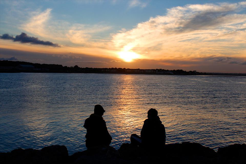 Couple, Sunset, Sea, Lake, Ocean, Quiet, Calm, Beach