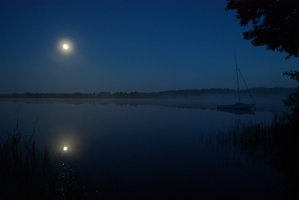 Boat, Moon, Night, Poland, Nature, Quiet, Landscape