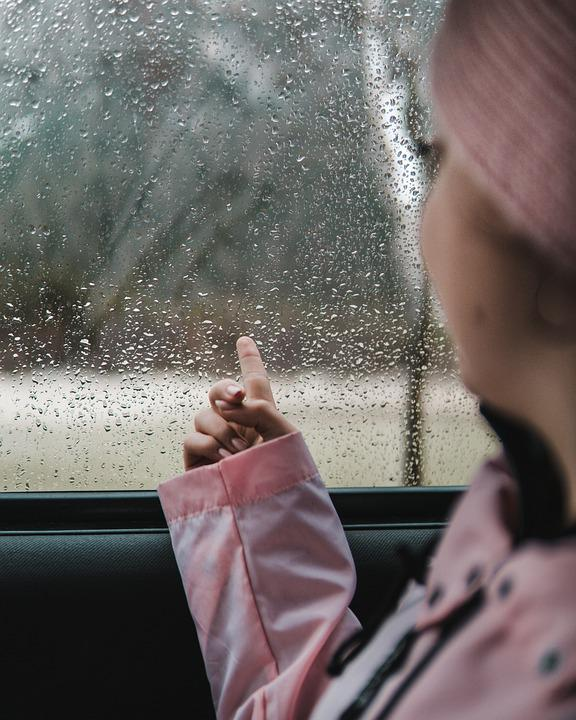 Girl, Pink, Cold, Fog, Quiet, Nature, Hand, Car, Moody