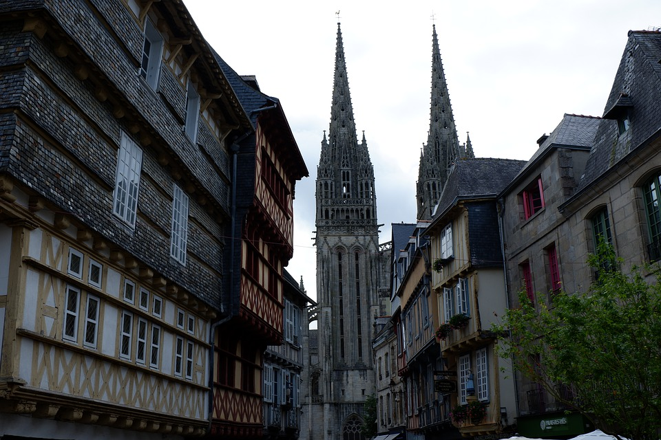 Quimper, France, Brittany, Architecture, Cathedral